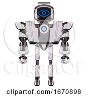 Robot Containing Digital Display Head And Large Eye And Led And Protection Bars And Heavy Upper Chest And Heavy Mech Chest And Blue Energy Fission Element Chest And Ultralight Foot Exosuit