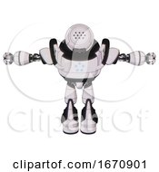 Bot Containing Dots Array Face And Heavy Upper Chest And Circle Of Blue Leds And Light Leg Exoshielding And Stomper Foot Mod White Halftone Toon T Pose