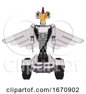 Automaton Containing Bird Skull Head And Yellow Led Protruding Eyes And Chicken Design And Light Chest Exoshielding And Ultralight Chest Exosuit And Pilots Wings Assembly And Tank Tracks