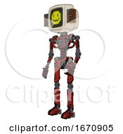 Automaton Containing Old Computer Monitor And Pixel Design Of Yellow Happy Face And Old Retro Speakers And Light Chest Exoshielding And No Chest Plating And Ultralight Foot Exosuit