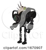 Automaton Containing Bird Skull Head And Green Eyes And Heavy Upper Chest And Chest Energy Gun And Ultralight Foot Exosuit Dirty Black Facing Right View