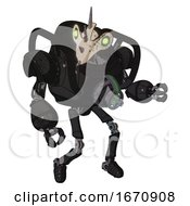 Automaton Containing Bird Skull Head And Green Eyes And Heavy Upper Chest And Chest Energy Gun And Ultralight Foot Exosuit Dirty Black Fight Or Defense Pose