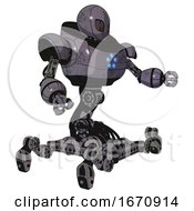 Cyborg Containing Grey Alien Style Head And Metal Grate Eyes And Heavy Upper Chest And Circle Of Blue Leds And Insect Walker Legs Light Lavender Metal Interacting