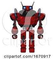 Automaton Containing Dual Retro Camera Head And Cyborg Antenna Head And Heavy Upper Chest And Blue Strip Lights And Prototype Exoplate Legs Red Blood Grunge Material Front View