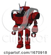 Automaton Containing Dual Retro Camera Head And Cyborg Antenna Head And Heavy Upper Chest And Blue Strip Lights And Prototype Exoplate Legs Red Blood Grunge Material