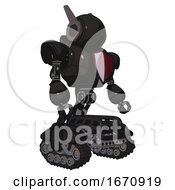 Cyborg Containing Round Head And Head Winglets And Heavy Upper Chest And Red Shield Defense Design And Tank Tracks Clean Black Facing Left View