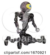 Cyborg Containing Giant Eyeball Head Design And Heavy Upper Chest And No Chest Plating And Insect Walker Legs Dark Sketchy Facing Left View