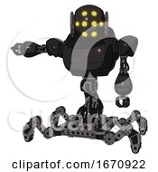 Droid Containing Round Head And Yellow Eyes Array And Heavy Upper Chest And Insect Walker Legs Dirty Black Arm Out Holding Invisible Object