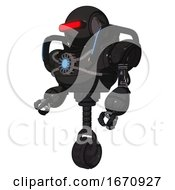 Cyborg Containing Round Head And Horizontal Red Visor And Heavy Upper Chest And Chest Blue Energy Core And Blue Strip Lights And Unicycle Wheel Dirty Black Facing Right View