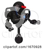 Cyborg Containing Round Head And Horizontal Red Visor And Heavy Upper Chest And Chest Blue Energy Core And Blue Strip Lights And Unicycle Wheel Dirty Black Interacting