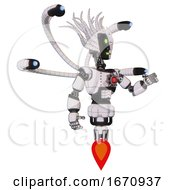 Cyborg Containing Humanoid Face Mask And Two Face Black White Mask And Light Chest Exoshielding And Red Energy Core And Blue Eye Cam Cable Tentacles And Jet Propulsion White Halftone Toon