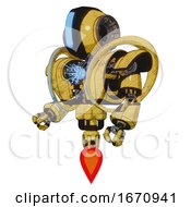 Bot Containing Round Head And Large Vertical Visor And Heavy Upper Chest And Heavy Mech Chest And Spectrum Fusion Core Chest And Jet Propulsion Construction Yellow Halftone Facing Right View