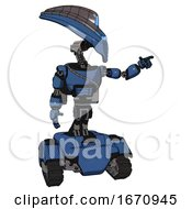 Bot Containing Flat Elongated Skull Head And Visor And Light Chest Exoshielding And Cable Sash And Rocket Pack And Tank Tracks Blue Halftone Pointing Left Or Pushing A Button