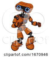 Cyborg Containing Dual Retro Camera Head And Retro 80s Head And Light Chest Exoshielding And Blue Energy Core And Light Leg Exoshielding And Spike Foot Mod Secondary Orange Halftone