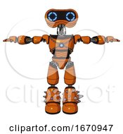 Cyborg Containing Dual Retro Camera Head And Retro 80s Head And Light Chest Exoshielding And Blue Energy Core And Light Leg Exoshielding And Spike Foot Mod Secondary Orange Halftone T Pose