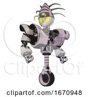 Automaton Containing Grey Alien Style Head And Yellow Eyes And Eyeball Creature Crown And Heavy Upper Chest And Heavy Mech Chest And Unicycle Wheel Sketch Pad Hero Pose