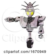 Automaton Containing Grey Alien Style Head And Yellow Eyes And Eyeball Creature Crown And Heavy Upper Chest And Heavy Mech Chest And Unicycle Wheel Sketch Pad Arm Out Holding Invisible Object