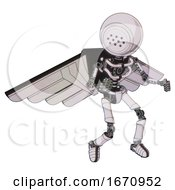 Robot Containing Dots Array Face And Light Chest Exoshielding And Pilots Wings Assembly And No Chest Plating And Ultralight Foot Exosuit White Halftone Toon Fight Or Defense Pose