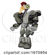 Cyborg Containing Bird Skull Head And Green Eyes And Chicken Design And Heavy Upper Chest And Heavy Mech Chest And Light Leg Exoshielding Concrete Grey Metal Facing Right View
