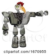 Cyborg Containing Bird Skull Head And Green Eyes And Chicken Design And Heavy Upper Chest And Heavy Mech Chest And Light Leg Exoshielding Concrete Grey Metal Pointing Left Or Pushing A Button