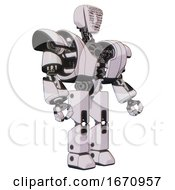 Droid Containing Humanoid Face Mask And Binary War Paint And Heavy Upper Chest And Heavy Mech Chest And Prototype Exoplate Legs White Halftone Toon Facing Left View