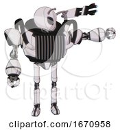 Mech Containing Grey Alien Style Head And Black Eyes And Bug Antennas And Heavy Upper Chest And Chest Vents And Ultralight Foot Exosuit White Halftone Toon Pointing Left Or Pushing A Button