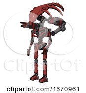 Mech Containing Flat Elongated Skull Head And Light Chest Exoshielding And Minigun Back Assembly And No Chest Plating And Ultralight Foot Exosuit Light Brick Red Facing Right View