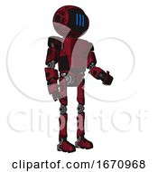 Mech Containing Digital Display Head And Three Vertical Line Design And Light Chest Exoshielding And Prototype Exoplate Chest And Ultralight Foot Exosuit Grunge Dots Royal Red Facing Left View