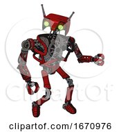 Robot Containing Dual Retro Camera Head And Cyborg Antenna Head And Heavy Upper Chest And No Chest Plating And Ultralight Foot Exosuit Red Blood Grunge Material Fight Or Defense Pose