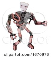 Droid Containing Humanoid Face Mask And Blood Tears And Heavy Upper Chest And No Chest Plating And Ultralight Foot Exosuit Toon Pink Tint Fight Or Defense Pose
