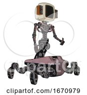 Cyborg Containing Old Computer Monitor And Old Retro Speakers And Light Chest Exoshielding And No Chest Plating And Insect Walker Legs Grayish Pink Facing Left View