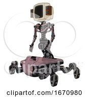 Cyborg Containing Old Computer Monitor And Old Retro Speakers And Light Chest Exoshielding And No Chest Plating And Insect Walker Legs Grayish Pink Facing Right View