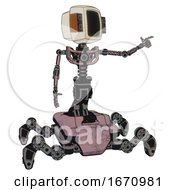 Cyborg Containing Old Computer Monitor And Old Retro Speakers And Light Chest Exoshielding And No Chest Plating And Insect Walker Legs Grayish Pink Pointing Left Or Pushing A Button