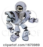 Bot Containing Round Head Chomper Design And Heavy Upper Chest And Heavy Mech Chest And Light Leg Exoshielding And Spike Foot Mod Blue Tint Toon Fight Or Defense Pose