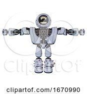 Bot Containing Round Head Chomper Design And Heavy Upper Chest And Heavy Mech Chest And Light Leg Exoshielding And Spike Foot Mod Blue Tint Toon T Pose