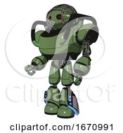 Robot Containing Oval Wide Head And Small Red Led Eyes And Barbed Wire Cage Helmet And Heavy Upper Chest And Light Leg Exoshielding And Megneto Hovers Foot Mod Grass Green Facing Right View