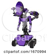 Bot Containing Dual Retro Camera Head And Satellite Dish Head And Light Chest Exoshielding And Ultralight Chest Exosuit And Minigun Back Assembly And Six Wheeler Base Secondary Purple Halftone