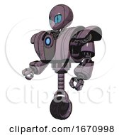 Droid Containing Grey Alien Style Head And Blue Grate Eyes And Heavy Upper Chest And Heavy Mech Chest And Blue Energy Fission Element Chest And Unicycle Wheel Lilac Metal Facing Right View
