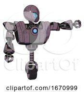 Droid Containing Grey Alien Style Head And Blue Grate Eyes And Heavy Upper Chest And Heavy Mech Chest And Blue Energy Fission Element Chest And Unicycle Wheel Lilac Metal