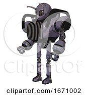 Robot Containing Grey Alien Style Head And Metal Grate Eyes And Bug Antennas And Heavy Upper Chest And Chest Vents And Ultralight Foot Exosuit Light Lavender Metal Facing Right View