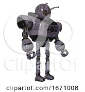 Droid Containing Grey Alien Style Head And Metal Grate Eyes And Bug Antennas And Heavy Upper Chest And Chest Compound Eyes And Ultralight Foot Exosuit Light Lavender Metal Facing Left View
