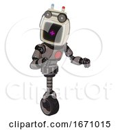 Android Containing Old Computer Monitor And Magenta Symbol Display And Old Computer Magnetic Tape And Light Chest Exoshielding And Red Chest Button And Unicycle Wheel Light Pink Beige