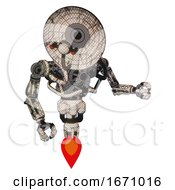 Cyborg Containing Dual Retro Camera Head And Satellite Dish Head And Heavy Upper Chest And No Chest Plating And Jet Propulsion Halftone Sketch Fight Or Defense Pose