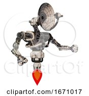 Cyborg Containing Dual Retro Camera Head And Satellite Dish Head And Heavy Upper Chest And No Chest Plating And Jet Propulsion Halftone Sketch Interacting