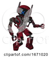 Robot Containing Digital Display Head And X Face And Winglets And Heavy Upper Chest And No Chest Plating And Prototype Exoplate Legs Grunge Dots Royal Red Fight Or Defense Pose