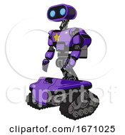 Droid Containing Dual Retro Camera Head And Cute Retro Robo Head And Light Chest Exoshielding And Yellow Star And Rocket Pack And Tank Tracks Secondary Purple Halftone Facing Right View