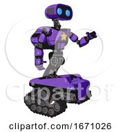 Droid Containing Dual Retro Camera Head And Cute Retro Robo Head And Light Chest Exoshielding And Yellow Star And Rocket Pack And Tank Tracks Secondary Purple Halftone Interacting