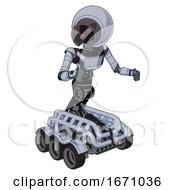 Bot Containing Cable Connector Head And Light Chest Exoshielding And Ultralight Chest Exosuit And Six Wheeler Base Blue Tint Toon Fight Or Defense Pose