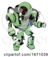 Mech Containing Three Led Eyes Round Head And Heavy Upper Chest And Chest Blue Energy Core And Shoulder Headlights And Prototype Exoplate Legs Green Tint Toon Fight Or Defense Pose