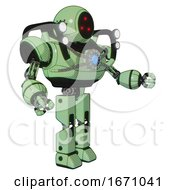 Mech Containing Three Led Eyes Round Head And Heavy Upper Chest And Chest Blue Energy Core And Shoulder Headlights And Prototype Exoplate Legs Green Tint Toon Interacting
